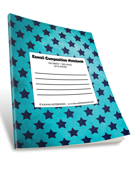 Kawaii Color Composition Notebook: 007 - Stars of Blue