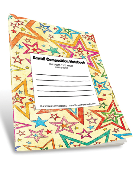 Kawaii Color Composition Notebook: 008 - Multi-Colored Stars
