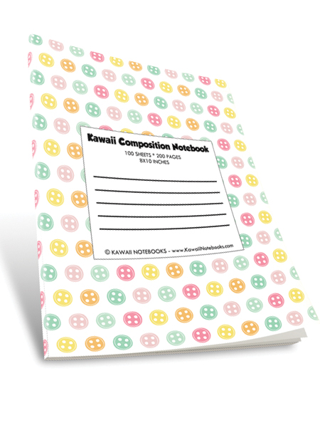 Kawaii Color Composition Notebook: 010 - Buttons